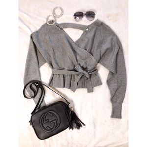 V-neck Wrap Front Cropped Sweater